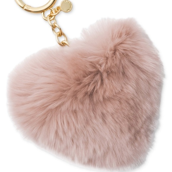 b495839aab769 Michael Michael Kors Heart Rabbit Fur Pom-Pom Key